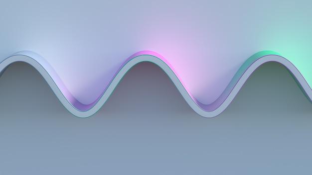 明るい背景面でのカラフルな波の3dレンダリング。明るいガンマ。紫、青、シアンのグラデーション。カラフル。
