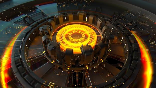 3d визуализация сложной вычислительной структуры со светящимся элементом в центре. концепция центра искусственного интеллекта. структура процессора.