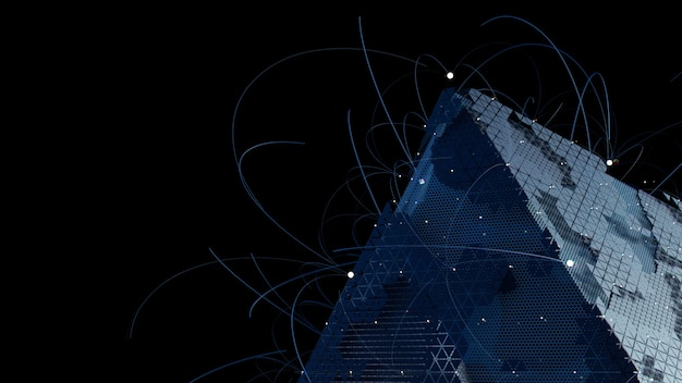 複雑なジオメトリの3dレンダリング。人工知能の概念。テクノロジーのテーマ。