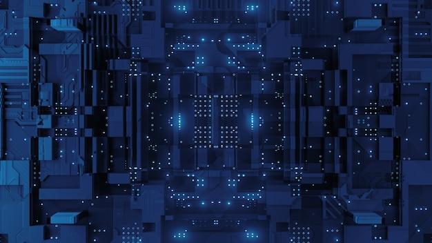3d визуализация сложной технологии фона. частицы, детали.