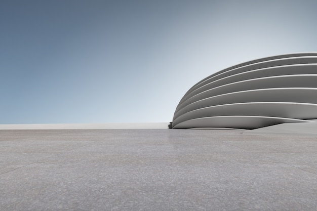 주차장, 빈 시멘트 바닥이 있는 콘크리트 건축물의 3d 렌더링.