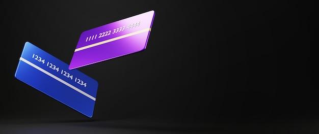 신용 카드의 3d 렌더링입니다. 온라인 쇼핑 및 웹 비즈니스 개념에 전자 상거래. 스마트 폰으로 안전한 온라인 결제 거래.