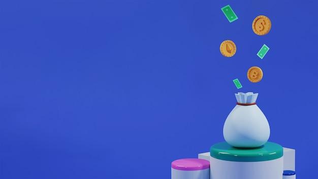 통화 및 복사 공간 연단에 가방에서 터지는 지폐의 3d 렌더링.