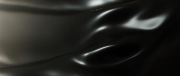 어둡고 검은 옷감의 3d 렌더링입니다. 무지개 빛깔의 홀로그램 포일. 추상 미술 패션 배경입니다.