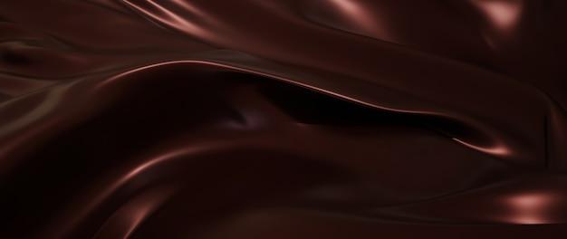 ダークとブラウンのココアの3dレンダリング。虹色のホログラフィックホイル。抽象芸術のファッションの背景。