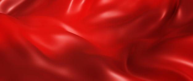 어둡고 붉은 옷감의 3d 렌더링입니다. 무지개 빛깔의 홀로그램 포일. 추상 미술 패션 배경입니다.