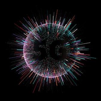 カラフルなパーティクルを含む暗い球の3dレンダリングがから放出されています。高速技術の概念。情報転送の速度。 5g。