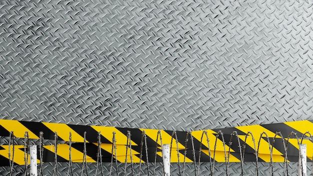 산업 위험 라인이 있는 다이아몬드 배경의 3d 렌더링, 제품 디스플레이용 철조망