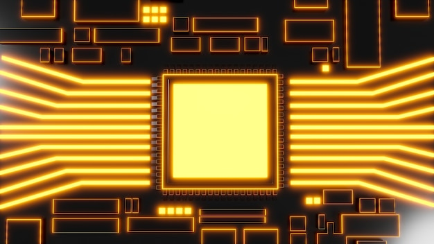 Cpu용 디지털 회로 기판의 3d 렌더링