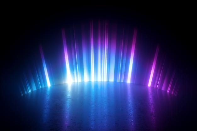 3d визуализация цифровой иллюстрации с абстрактным неоновым светом.