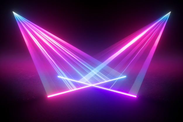 네온 빛 추상적 인 디지털 그림의 3d 렌더링