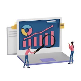 컴퓨터 화면에 작은 인물, 테이블, 그래픽 개체를 사용하여 디지털 마케팅 전략 개념을 3d 렌더링합니다. 방문 페이지 및 모바일 웹 사이트 템플릿에 대한 현대적인 온라인 소셜 미디어 마케팅