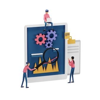 コンピュータ画面上の小さな人々のキャラクター、テーブル、グラフィックオブジェクトを使用したデジタルマーケティング戦略の概念の3dレンダリング。ランディングページとモバイルウェブサイトテンプレートのための現代のオンラインソーシャルメディアマーケティング