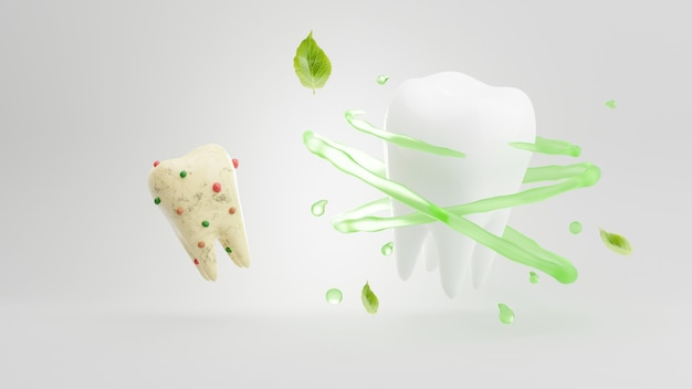 汚れた歯と渦とハーブに囲まれた歯の歯科治療の3dレンダリング