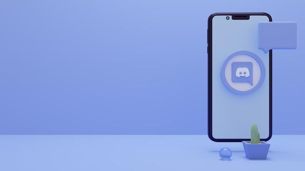 스마트폰 또는 모바일 소셜 미디어 광고가 있는 discord 로고의 3d 렌더링