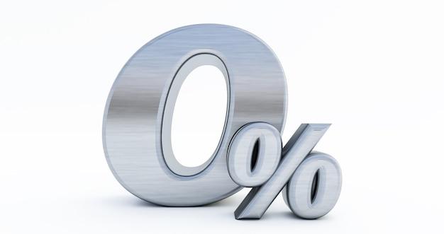 3d визуализация нулевой скидки 0%, изолированные на белом фоне