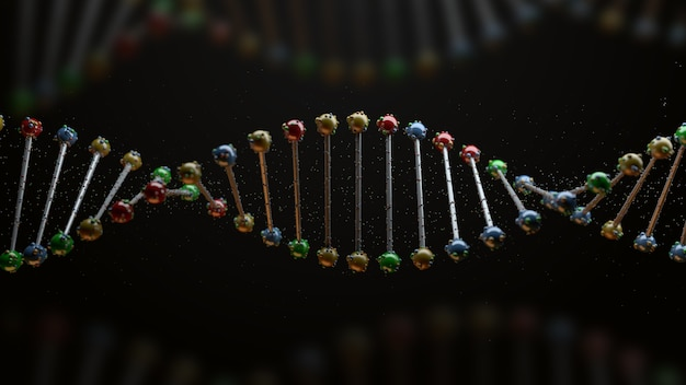 Dna 형태의 3d 렌더링입니다. 반사 분야의 나선으로 과학 배경입니다. 유전 개념입니다.