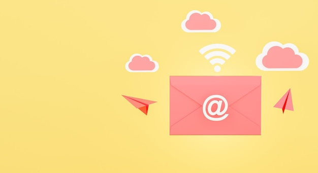3d визуализация концепции конверта электронной почты