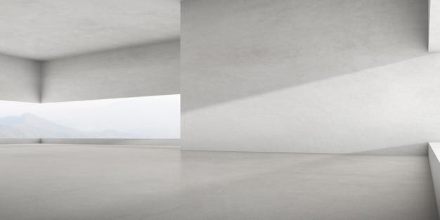 자연 배경에 큰 벽 구조가 있는 빈 콘크리트 방의 3d 렌더링.