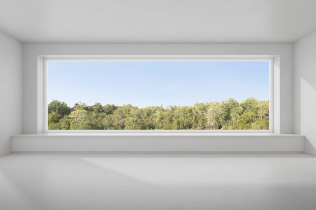 자연 배경에 큰 창이 있는 빈 콘크리트 방의 3d 렌더링.