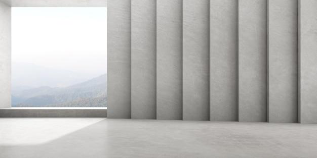 자연 배경에 큰 창 빈 콘크리트 방의 3d 렌더링.