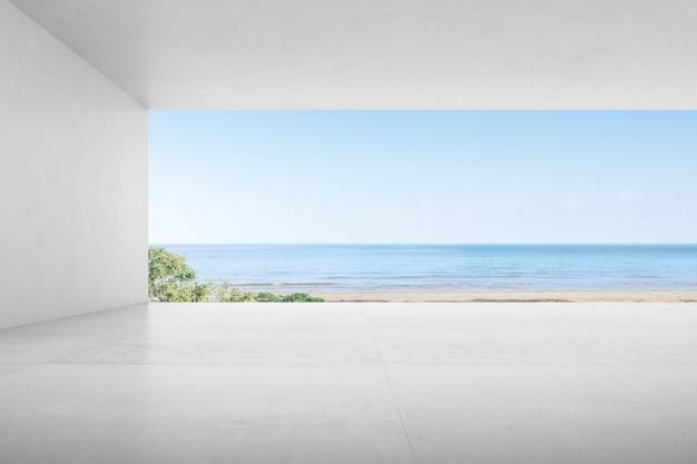 海の背景に大きな窓のある空のコンクリートの部屋の3dレンダリング。