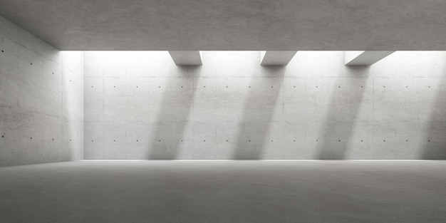 벽에 그림자가 있는 빈 콘크리트 방의 3d 렌더링.