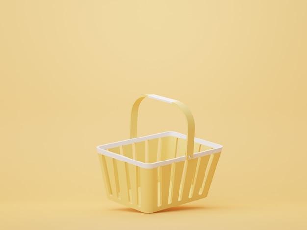 슈퍼마켓과 쇼핑몰을 위한 빈 노란색 쇼핑 바구니 쇼핑 카트의 3d 렌더링
