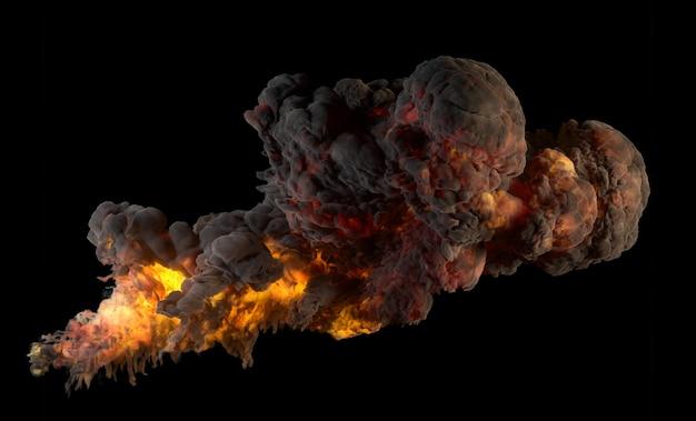 검은 배경에 연기와 화재가 있는 폭발의 3d 렌더링.