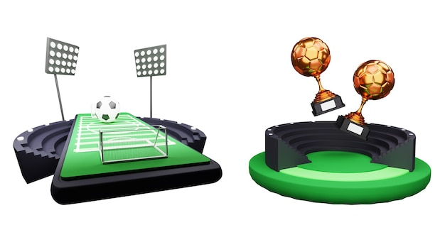 スマートフォンの画面上のサッカー場の3dレンダリングと白い背景の上の2つのブロンズサッカートロフィーカップ。