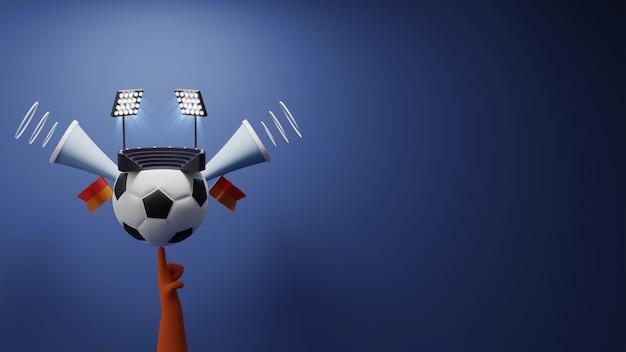 スタジアムビュー、スピーカー、コピースペースで彼の指にボールを持ち上げるサッカー選手の3dレンダリング。