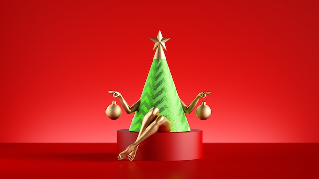 3d визуализация забавного персонажа рождественской елки сидит на круглом постаменте.