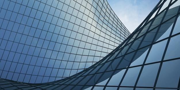 미래 건축의 3d 렌더링, 곡선 유리창이 있는 마천루 건물.