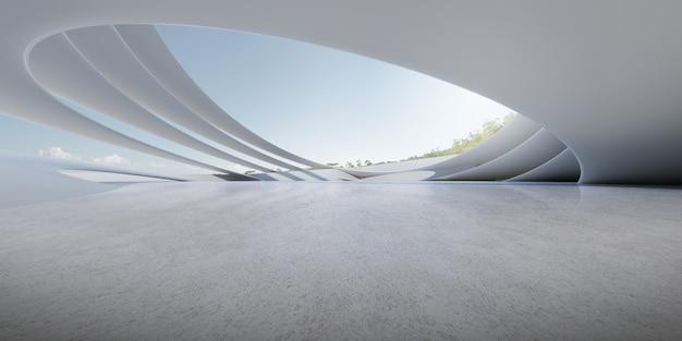 주차장, 빈 시멘트 바닥이 있는 미래 콘크리트 건축물의 3d 렌더링.