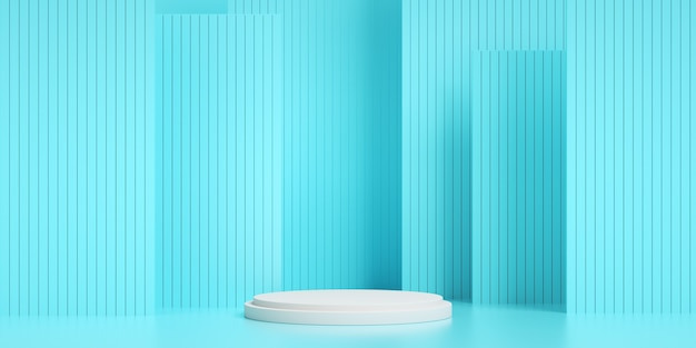 기하학적 블루 스트라이프의 3d 렌더링