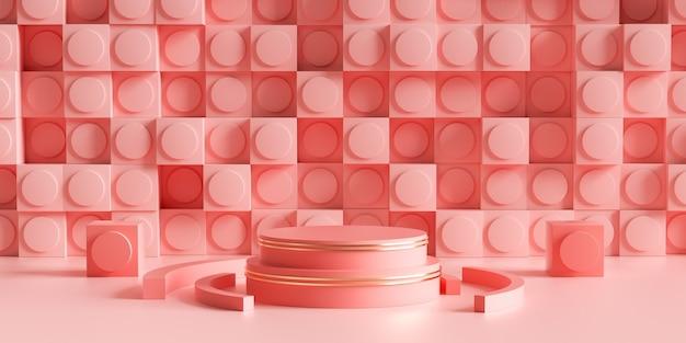 3d визуализация геометрического розового цвета с прямоугольной стеной для демонстрации продукта