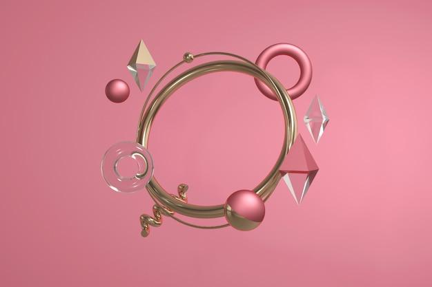 幾何学的形状の3 dレンダリング。モダンな抽象的な構成予測に基づく円、ボール、菱形、スパイラル。