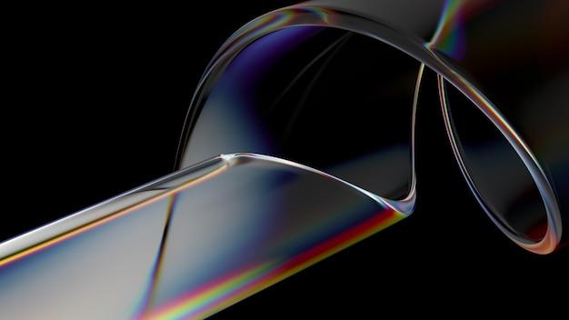 分散効果と虹色効果を備えたガラスオブジェクトの3dレンダリング。 realisitcライトスプリッティング。豪華でモダンな背景。