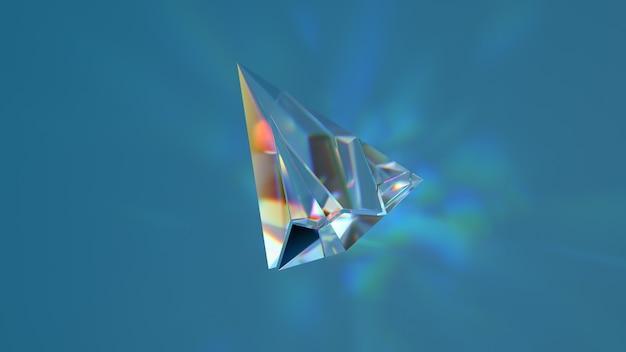 파란색 배경에 현실적인 화선이 있는 유리 모양의 3d 렌더링. 빛의 굴절 효과.
