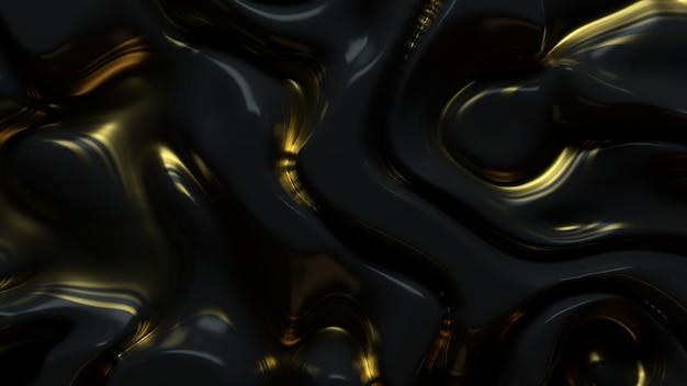 3d визуализация глянцевой поверхности с органическим рисунком смещения. роскошный современный фон. гладкие и плавные линии. волновой узор.