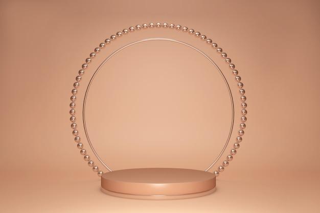 파스텔 배경, 진주 프레임, 추상 최소한의 아름다움 개념에 고립 된 골드 베이지 기하학적 스튜디오 받침대의 3d 렌더링