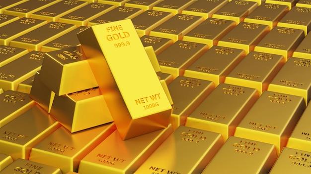 3d визуализация золотой кирпич золотой слиток финансовая концепция, студийные снимки