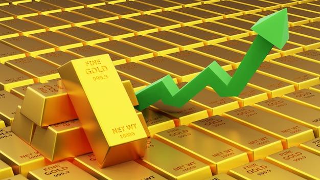 3d визуализация золотой кирпич золотой слиток с графиком финансовая концепция