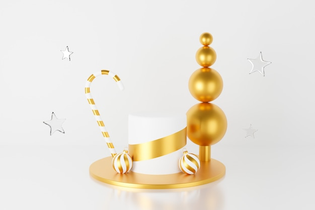 安物の宝石と星とゴールドのクリスマス表彰台の3 dレンダリング