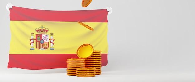 3d визуализация стопок золотых монет и испанского флага на белом фоне баннера