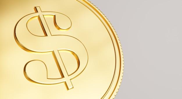 クローズアップの概念を持つ金貨の3dレンダリング