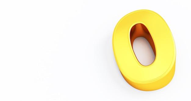 3d визуализация золотой номер 0 ноль изолированный белый фон