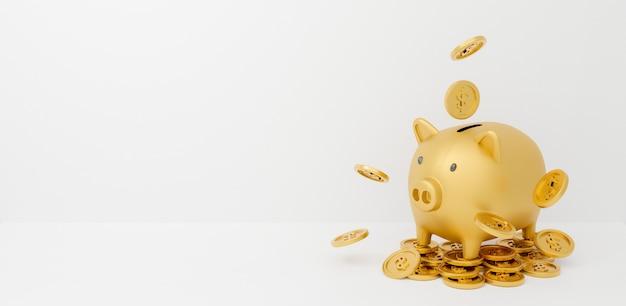 떨어지는 동전과 금 돼지 저금통의 3d 렌더링