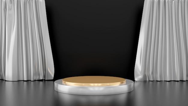 黒の背景、ゴールデンサークルステージ、抽象的な最小限のコンセプト、空白、シンプルなすっきりとしたデザイン、豪華なミニマリストのモックアップに分離されたカーテンとゴールドシルバー台座ステップの3 dレンダリング