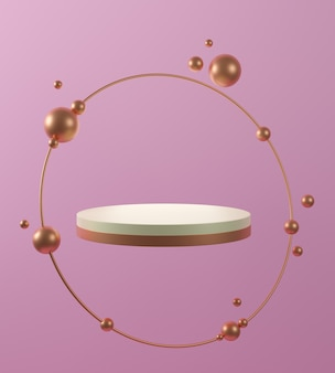 ピンクの背景、金色のリング、抽象的な最小限の概念、シンプルでクリーンなデザイン、豪華なミニマリストのモックアップで分離されたゴールドホワイト大理石の台座のステップの3dレンダリング。